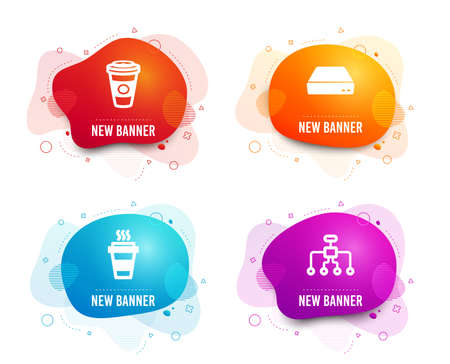 Liquid badges. Set of Takeaway, Mini pc and Takeaway coffee icons. Restructuring sign. Takeout coffee, Computer, Hot latte drink. Delegate.  Gradient takeaway icon. Flyer fluid design. Abstract shapes