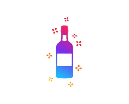 Brandy bottle icon. Whiskey or Scotch alcohol sign. Dynamic shapes. Gradient design brandy bottle icon. Classic style. Vector