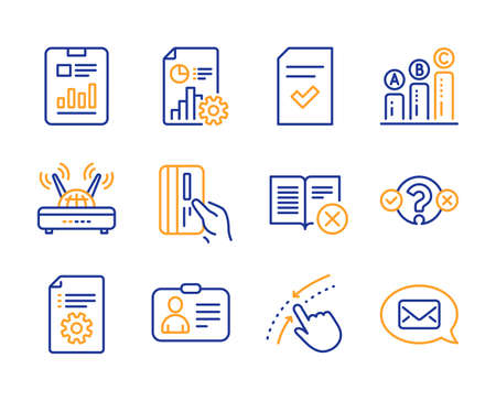 Report, Quiz test and Swipe up icons simple set. Wifi, Id card and Technical documentation signs. Report document, Payment card and Checked file symbols. Line report icon. Colorful set. Vector Reklamní fotografie - 126174063