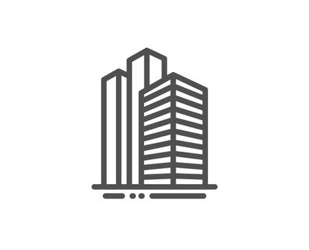 Skyscraper buildings line icon. City architecture sign. Town symbol. Quality design element. Linear style skyscraper buildings icon. Editable stroke. Vector