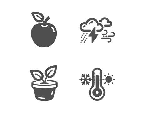 Set of Bad weather, Apple and Leaves icons. Thermometer sign. Clouds, Fruit, Grow plant. Thermostat.  Classic design bad weather icon. Flat design. Vector Illustration