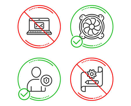 Do or Stop. Computer fan, Security and E-mail icons simple set. Cogwheel blueprint sign. Pc ventilator, Person protection, New message. Edit settings. Line computer fan do icon. Prohibited ban stop