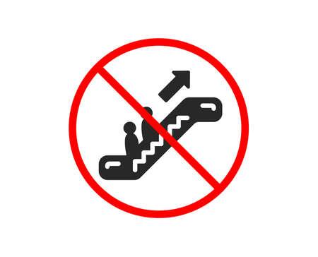 No or Stop. Escalator icon. Elevator sign. Shopping stairway symbol. Prohibited ban stop symbol. No escalator icon. Vector