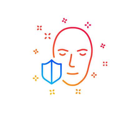 Face detection protected line icon. Secure access sign. Facial identification symbol. Gradient design elements. Linear face protection icon. Random shapes. Vector Illusztráció