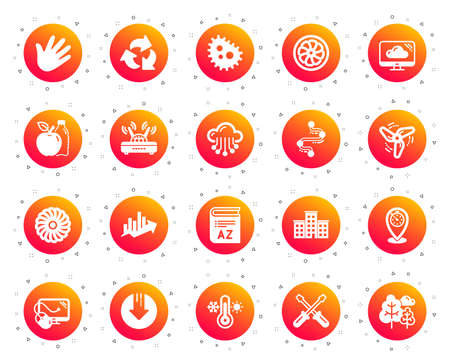 Company building, Vocabulary, Profits timeline icons. Turbine, Wind, Thermostat icons. Tree, Bacteria, Healthy food. Company chart, wind turbine. Cloud services, Timeline, Download. Vector