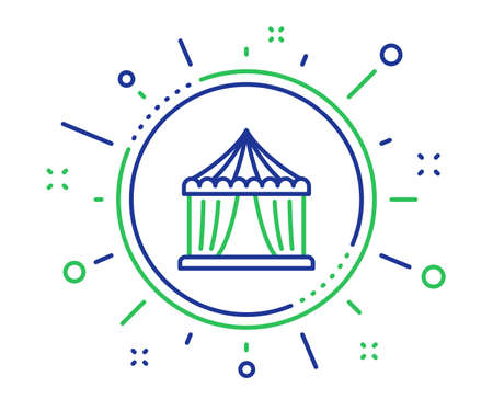 Amusement park tent line icon. Circus tickets office sign. Quality design elements. Technology circus tent button. Editable stroke. Vector Vetores
