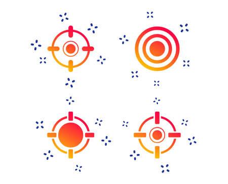 Crosshair icons. Target aim signs symbols. Weapon gun sights for shooting range. Random dynamic shapes. Gradient aim icon. Vector Stock Vector - 126174181