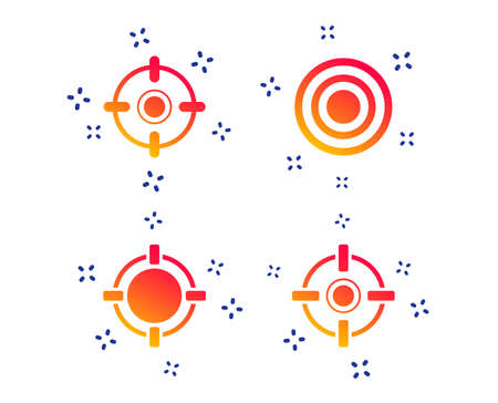 Crosshair icons. Target aim signs symbols. Weapon gun sights for shooting range. Random dynamic shapes. Gradient aim icon. Vector
