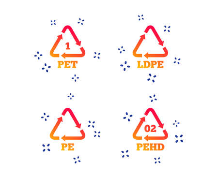 PET, Ld-pe and Hd-pe icons. High-density Polyethylene terephthalate sign. Recycling symbol. Random dynamic shapes. Gradient plastic pet icon. Vector