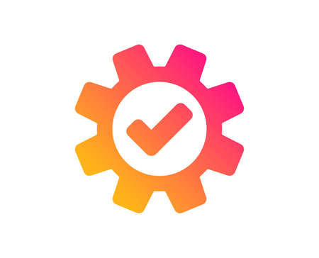 Cogwheel icon. Approved Service sign. Transmission Rotation Mechanism symbol. Classic flat style. Gradient service icon. Vector