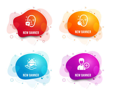 Liquid badges. Set of Face search, Skin care and Face accepted icons. Add person sign. Find user, Hand cream, Access granted. Edit user data.  Gradient face search icon. Flyer fluid design. Vector
