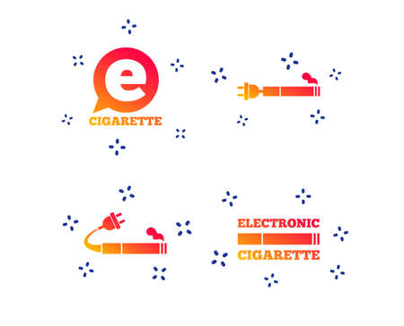 E-Cigarette with plug icons. Electronic smoking symbols. Speech bubble sign. Random dynamic shapes. Gradient e-cigarette icon. Vector