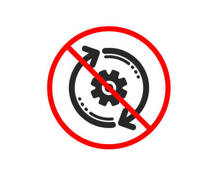 No or Stop. Cogwheel icon. Engineering tool sign. Cog gear, refresh settings symbol. Prohibited ban stop symbol. No cogwheel icon. Vector