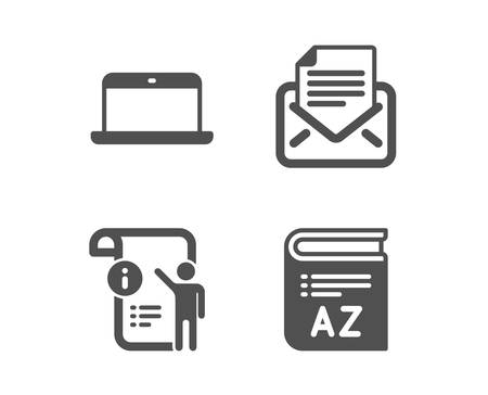 Set of Laptop, Mail correspondence and Manual doc icons. Vocabulary sign. Mobile computer, E-mail newsletter, Project info. Book.  Classic design laptop icon. Flat design. Vector