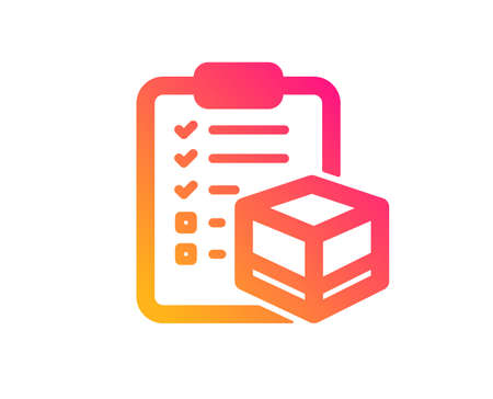 Parcel checklist icon. Logistics check sign. Package control symbol. Classic flat style. Gradient parcel checklist icon. Vector