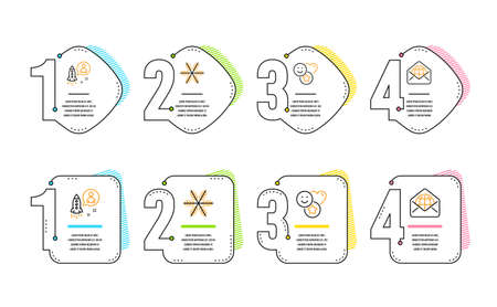 Snowflake, Startup and Smile icons simple set. Web mail sign. Air conditioning, Developer, Social media likes. World communication. Business set. Infographic timeline. Line snowflake icon. Vector  イラスト・ベクター素材