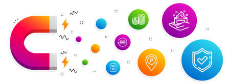 Magnet attracting. Delete file, Parking and Skin care icons simple set. Currency, Refund commission and Confirmed signs. Remove document, Park pointer. Business set. Line delete file icon. Vector