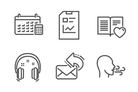Love book, Headphones and Calendar icons simple set. Report document, Share mail and Breathing exercise signs. Customer feedback, Earphones. Education set. Line love book icon. Editable stroke. Vector