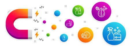 Magnet attracting. Dirty water, Shampoo and spray and Rubber gloves icons simple set. Shampoo, Dishwasher timer and Cleanser spray signs. Aqua drop, Washing liquids. Cleaning set. Vector