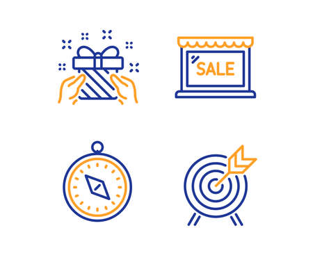 Gift, Travel compass and Sale icons simple set. Archery sign. Present, Trip destination, Shopping store. Attraction park. Holidays set. Linear gift icon. Colorful design set. Vector