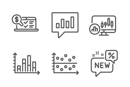 Dot plot, Analytical chat and Online accounting icons simple set. Diagram graph, Candlestick chart and New signs. Presentation graph, Communication speech bubble. Finance set. Line dot plot icon Illusztráció