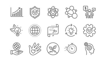 Core values line icons. Integrity, Target purpose and Strategy. Helping hand, social responsibility, commitment goal icons. Linear set. Vector Illustration