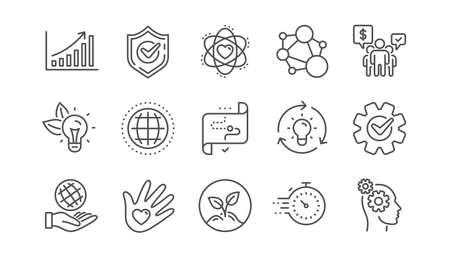 Symbole für die Linie der Kernwerte. Integrität, Zielzweck und Strategie. Helfende Hand, soziale Verantwortung, Engagement-Zielsymbole. Linearer Satz. Vektor Vektorgrafik