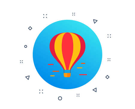 Air balloon icon. Airship transportation. Delivery transport by air of goods and people. Balloon airship with basket. Random dynamic shapes. Gradient air balloon button. Vector