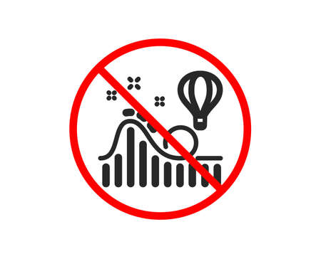 No or Stop. Roller coaster icon. Amusement park sign. Carousels symbol. Prohibited ban stop symbol. No roller coaster icon. Vector Illustration