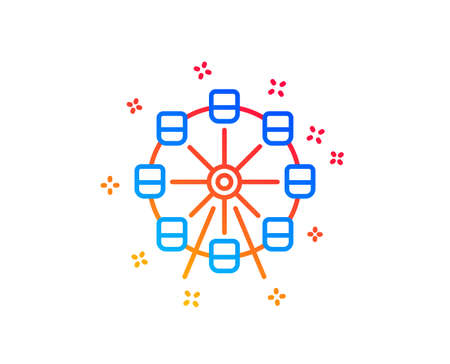 Ferris wheel line icon. Amusement park sign. Carousels symbol. Gradient design elements. Linear ferris wheel icon. Random shapes. Vector