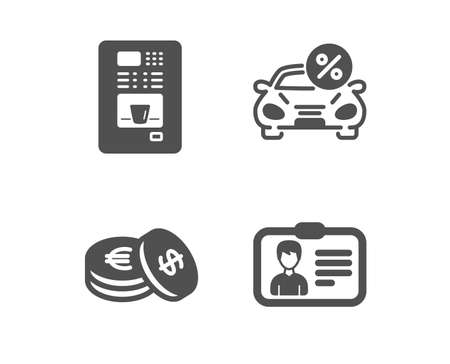 Set of Savings, Coffee vending and Car leasing icons. Identification card sign. Cash coins, Coffee vending machine, Transport discount. Person document.  Classic design savings icon. Flat design