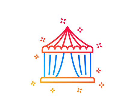 Amusement park tent line icon. Circus tickets office sign. Gradient design elements. Linear circus tent icon. Random shapes. Vector