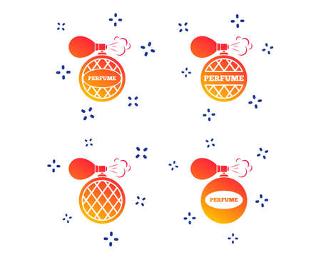 Perfume bottle icons. Glamour fragrance sign symbols. Random dynamic shapes. Gradient perfume icon. Vector Illustration