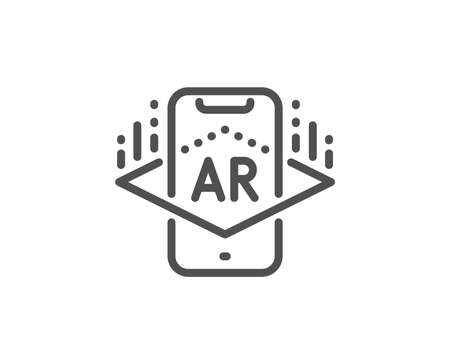 Augmented reality phone line icon. VR simulation sign. 3d view symbol. Quality design element. Linear style augmented reality icon. Editable stroke. Vector