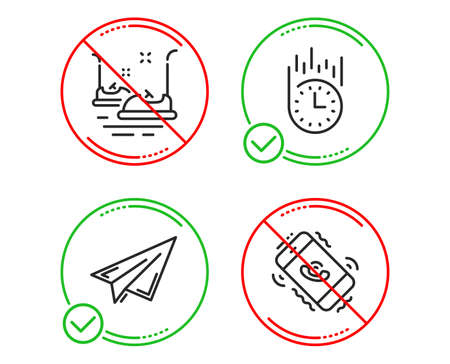 Do or Stop. Fast delivery, Paper plane and Bumper cars icons simple set. Call center sign. Stopwatch, Airplane, Carousels. Phone support. Business set. Line fast delivery do icon. Prohibited ban stop Ilustração