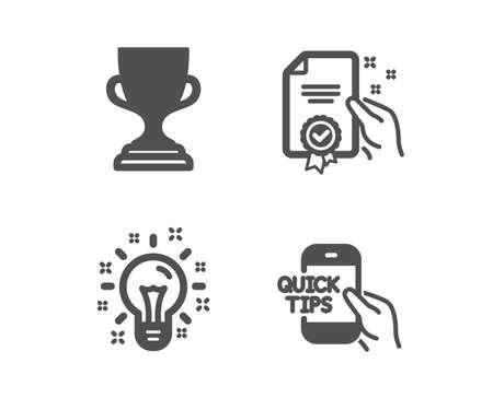 Set of Award cup, Idea and Certificate icons. Education sign. Trophy, Creativity, Certified guarantee. Quick tips. Classic design award cup icon. Flat design. Vector Ilustración de vector