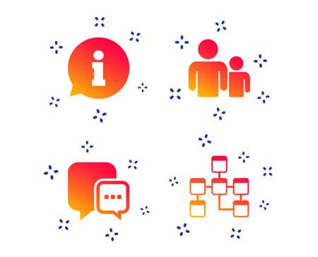 Hinweisschild. Gruppe von Personen und Datenbanksymbolen. Chat-Sprechblasen-Zeichen. Kommunikationssymbole. Zufällige dynamische Formen. Symbol für Verlaufsinformationen. Vektor Vektorgrafik
