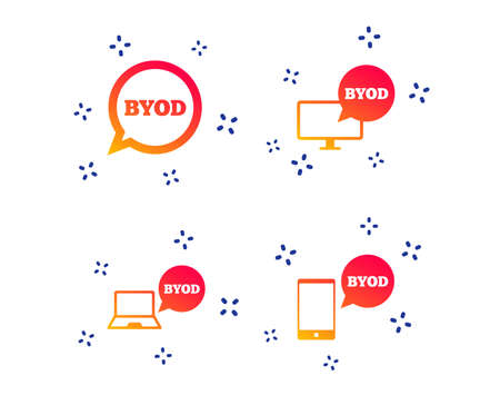 BYOD icons. Notebook and smartphone signs. Speech bubble symbol. Random dynamic shapes. Gradient byod icon. Vector