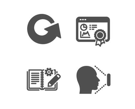 Set of Engineering documentation, Reload and Seo certificate icons. Face id sign. Manual, Update, Statistics. Identification system.  Classic design engineering documentation icon. Flat design. Vector  イラスト・ベクター素材