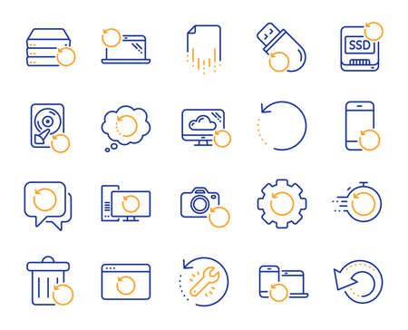 Recovery line icons. Backup, Restore data and recover document. Laptop renew, repair and phone recovery icons. Drive fix, restore information and return data. Backup document. Vector Ilustracja