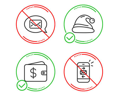 Do or Stop. Santa hat, Messenger and Dollar wallet icons simple set. Mail sign. Christmas, New message, Cash money. Smartphone communication. Business set. Line santa hat do icon. Prohibited ban stop Illustration