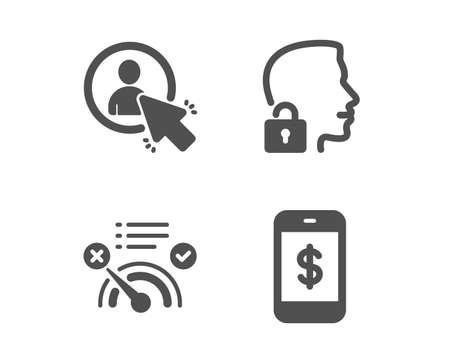 Set of No internet, User and Unlock system icons. Smartphone payment sign. Bandwidth meter, Project manager, Access granted. Mobile pay.  Classic design no internet icon. Flat design. Vector Ilustração