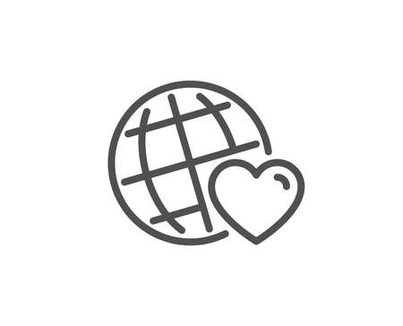 Friends world line icon. Friendship love sign. Assistance business symbol. Quality design element. Linear style friends world icon. Editable stroke. Vector
