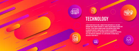 Header banner. Education idea, Search files and Faq icons simple set. Bitcoin chart, Documentation and Face recognition signs. Quick tips, Magnifying glass. Technology set. Line education idea icon Ilustração