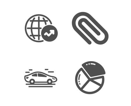 Set of World statistics, Paper clip and Car icons. Pie chart sign. Global report, Attach paperclip, Transport. Presentation graph.  Classic design world statistics icon. Flat design. Vector Illusztráció
