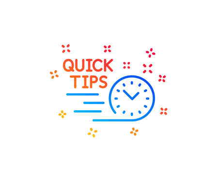 Quick tips line icon. Helpful tricks sign. Tutorials symbol. Gradient design elements. Linear quick tips icon. Random shapes. Vector