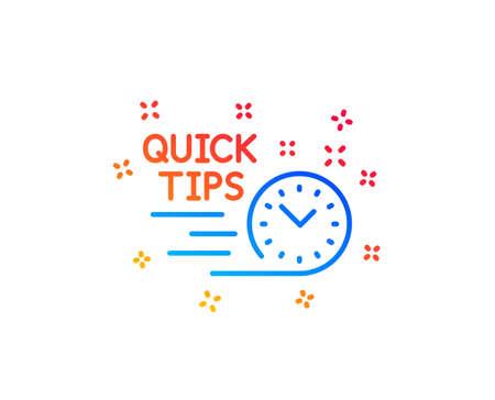 Quick tips line icon. Helpful tricks sign. Tutorials symbol. Gradient design elements. Linear quick tips icon. Random shapes. Vector