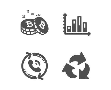 Set of Call center, Diagram graph and Bitcoin icons. Recycle sign. Recall, Presentation chart, Cryptocurrency coin. Recycling waste.  Classic design call center icon. Flat design. Vector