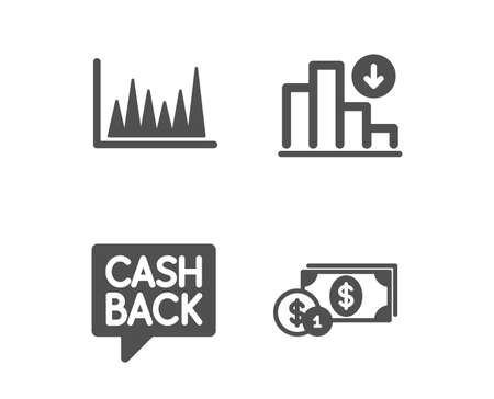 Set of Line graph, Money transfer and Decreasing graph icons. Dollar money sign. Market diagram, Cashback message, Crisis chart. Cash with coins.  Classic design line graph icon. Flat design. Vector Ilustração