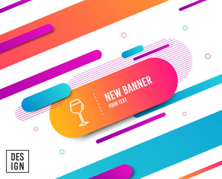 Wine glass line icon. Bordeaux glass sign. Diagonal abstract banner. Linear bordeaux glass icon. Geometric line shapes. Vector
